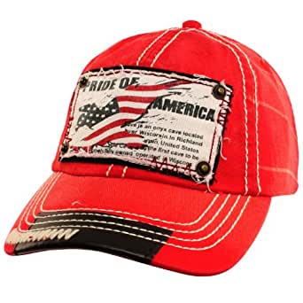 Pride of America USA Flag Distresed Denim Jean Adjustable Baseball Cap Hat Red