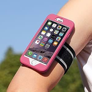 iPhone 6s Armband, iPhone 6 Armband, MoKo Silicone Armband for Running, Hiking, Biking, Walking or Any Fitness Activity - Key Holder Slot, Full Protection, Perfect Earphone Connection, MAGENTA