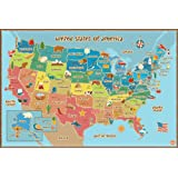 Wall Pops  WPE0623 Kids USA Dry Erase Map Decal Wall Decals