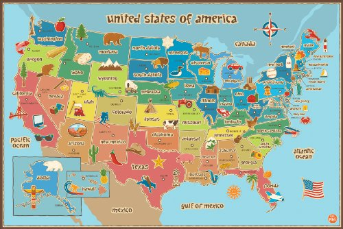 Wall Pops  WPE0623 Kids USA Dry Erase Map Decal Wall Decals - 1