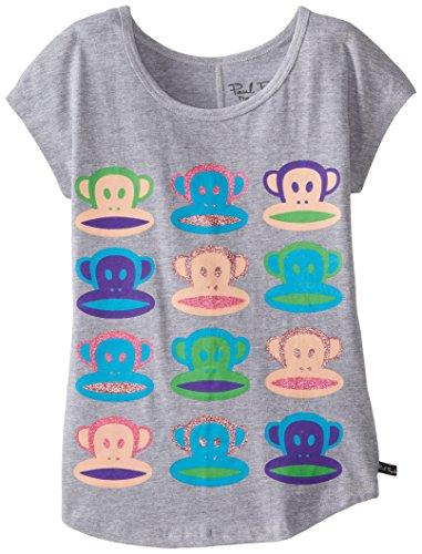 Paul Frank Big Girls' Neon Julius Dolman Sleeve Tee, Grey Heather, X-Large front-467415