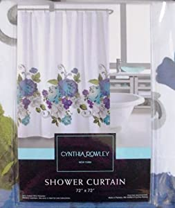 Cynthia Rowley Miss Friday Purple & Blue Roses Fabric Shower Curtain