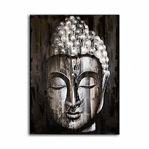 Bouddha en bois peinture Argenté