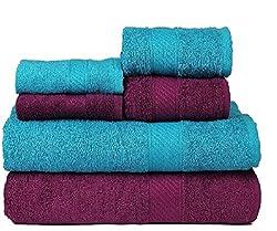 Trident 2 Large Bath , 2 Hand And 2 Face Towels Set Of 6 Pcs- Tealsachet & Deep Purple