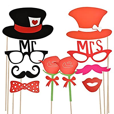Joyin Toy 66 Pieces Photo Booth Props Party Favor for Wedding Party Graduation Birthdays Dress-up Accessories Costumes with Mustache, Hats, Glasses, Lips, Bowler, Bowties on Sticks by Joyin Toy