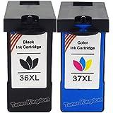 Toner Kingdom® Remanufactured Ink Cartridge Replacements for Lexmark 36XL & Lexmark 37XL for Lexmark Z2400 Z2420 X3650 X4650 X5650 X5650es X6650 X6675 Z2400 X3650 X4650 Z2420 Printers(1Black, 1Color)