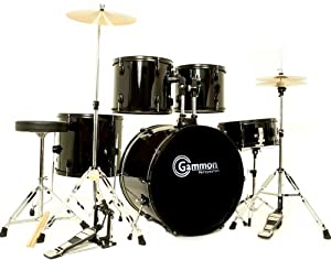 New Drum Set Black 5-Piece Complete Full Size with Cymbals Stands Stool Sticks by Gammon Percussion
