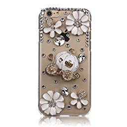 iPhone 5C Case, STENES Luxurious Crystal 3D Handmade Sparkle Diamond Rhinestone Clear Cover with Retro Bowknot Anti Dust Plug - Pumpkin Car Flowers / Clear