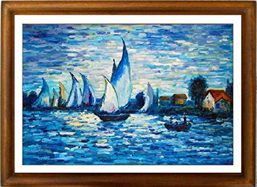 Boats At Sunrise By Claud Monet, Framed Classi Giclee Fine Art Picture, Based On Popular Monet Oil Painting On Canvas, Boats On The Water Going Out Early In The Morning.