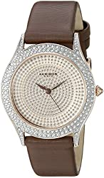 Akribos XXIV Women's AK896BR Round Silver Dial Three Hand Quartz  Strap Watch