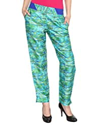 Fashion205 Green And Blue Printed Cotton Satin Trouser - B00ZP5AQL8