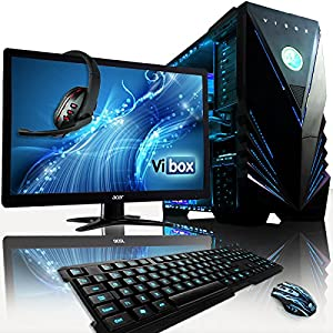 "VIBOX Warrior Package 4LW - Fast 4.0GHz 6-Core, High Spec, Desktop Gaming PC, Computer Complete Full Package Including: Windows 8.1, 22"" Monitor, Headset, Gamer's Keyboard & Mouse Set AND a Neon Blue Internal Lighting Kit (AMD FX 6300 Six Core Processor, 2GB Nvidia Geforce GTX 960 HDMI Graphics Card, High Grade 500W PSU, 1TB Hard Drive, 32GB 1600MHz RAM, SD Memory Card Reader)"