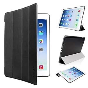 EasyAcc à Apple iPad Air Ultra Slim Housse etui Cuir Smart Cover pour iPad Air iPad 5 avec stand de positionnement - Apple iPad air 5 Gen Tablette av support et Auto sleep-wake up (Noir, PU Cuir, Ultra Fin)