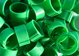 100 Poultry Leg Rings, 16mm Clip, to fit standard hens and chickens (Dark Green)