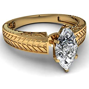 0.50 Ct Marquise Cut Solitaire SI1 Diamond Ancient Style Engagement Ring GIA 14K