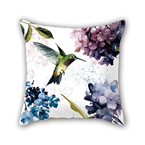 Beautfuldecor Home Decoration Naughty Kingfisher Pecking Flower Pillowcase18X18 Inch Throw Cushion Cover