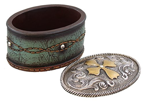 Western Belt Bucklel Trinket Box - Turquoise Tooled Leather Look, Rhinestones - Silver Gold
