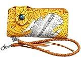 本牛革&本ヘビ皮使用 カービング型押し 二つ折り 長財布 キャメル ウォレットチェーン付き モンタナパイソン 茶
