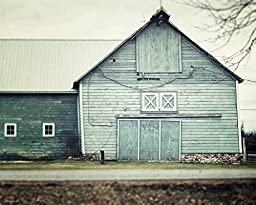 Rustic Decor Aqua Barn Landscape Art Print - Country Farm Wall Art in Shades of Aqua Teal Grey and Green.