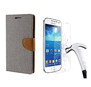 DENICELL Royal Dairy Style Flip Cover Combo Offer For Samsung Galaxy A3 (MATTE GREY WITH TEMPERED GLASS)
