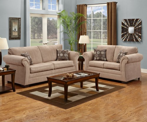 SIMMONS SOFA LOVESEAT CHAIR OTTOMAN PADDED ARM LIVING ROOM SET NEW TAUPE