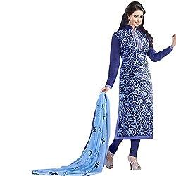 ethnic bazaar blue partywear salwar suit dress material