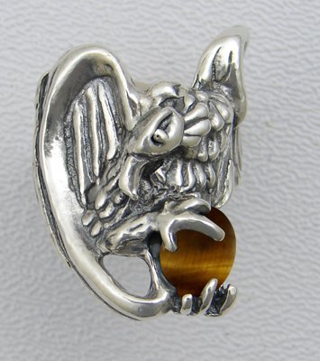A Magnificent Vulture Sterling Silver Ring Accented with Genuine Tiger Eye Made in America