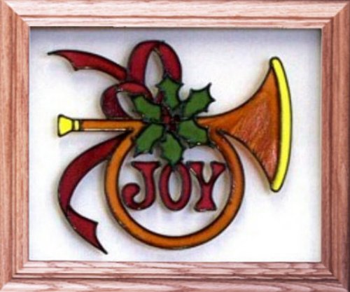 Christmas Joy Holiday Horn Painted Holiday Art Glass