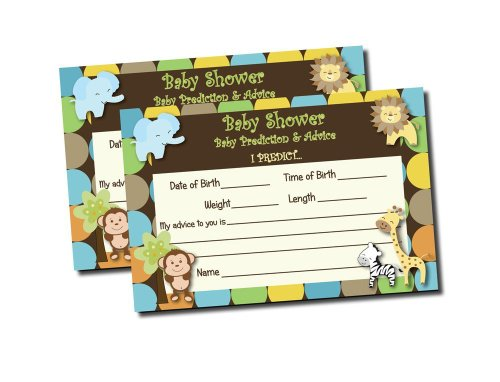 Baby Shower Advice & Prediction Cards for Mom King of Jungle Animal Themed Games (50-cards) - 1