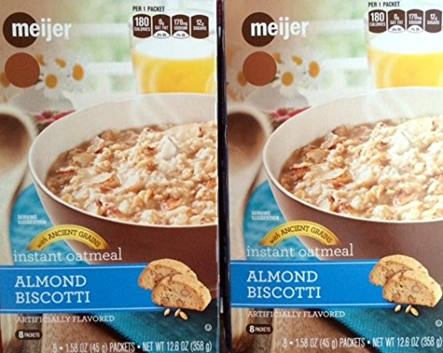 2 Boxes Meijer Almond Biscotti Instant Oatmeal Total 16 Packets