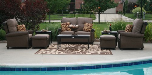 The Giovanna Collection All Weather Wicker/Cast Aluminum Patio Furniture Deep Seating Set With Loveseat picture