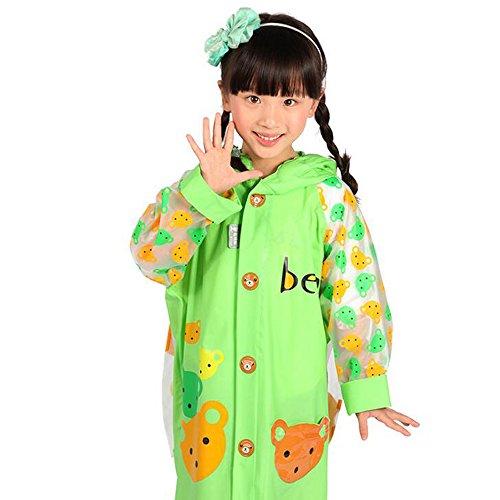 [Ezyoutdoor Unisex Kids Blue/Green Children Hooded Raincoat Rain Jacket Poncho with School Bag Cover Children Raincoat Cartoon Poncho,Cute Bear (Green,] (Super Mario Flower Power Costume)