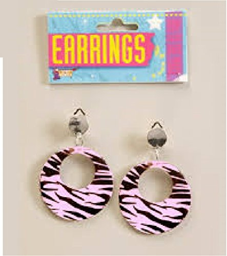80s Pink Zebra Earrings