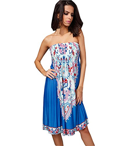 shawhuaa womens sexy vintage strapless summer sun dress