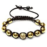Bracelet Mens Ladies Unisex Hip Hop Style One Gold Tone Disco Ball Bead & Ten Gold Plated 12 mm Crystal Faceted Beads Adjustable Picture