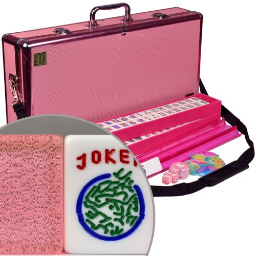Complete American Mahjong (Mah Jongg Mahjongg) 166 Tiles Set w/ 4 Pushers and Racks, Red Wood Case -
