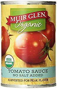 Muir Glen Organic Tomato Sauce, No Salt Added, 15-Ounce Cans (Pack of 12)