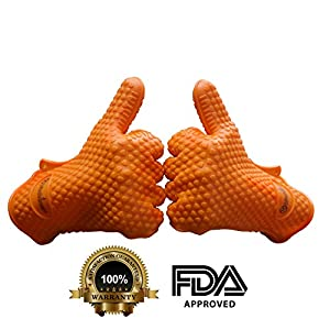#1 Silicone Gloves for Cooking, BBQ and Grilling! These XL Heat Resistant Gloves Make for Great Meat Claws or Kitchen Baking Mitts!