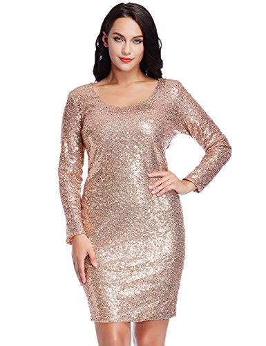 LookbookStore Women's Plus Size Champagne Sequin Party Club Cocktail Bodycon Short Dress 24W
