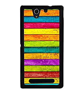 Colourful Wooden Pattern 2D Hard Polycarbonate Designer Back Case Cover for Sony Xperia C3 Dual :: Sony Xperia C3 Dual D2502