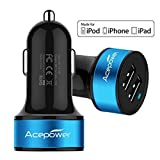 Car Chargers Best Deals - [AppleMFI認証] ACEPower Dual USB Car Charger 2 ports 【小型カーチャージャー カーソケット用 2個口タイプ][2USBポートカーチャージャー]17W/3.4A(2.4A , 1.0A) シガーソケットからiPhone6/iPhone5S/5C/iPad5/iPad Air/Xepria/Galaxy等幅広いスマートフォンやタブレットが急速充電可能超小型車載充電器高級感が溢れる (ブラック+ブルー)