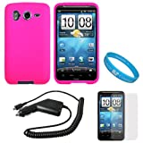 Hot Pink Rubberized Soft Silicone Skin Cover Case for AT&T Wireless New HTC Inspire 4G Android Smartphone + Clear Screen Protector + Black Rapid Car Charger with IC Chip + SumacLife TM Wisdom Courage Wristband