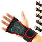 Cross Training Gloves with Wrist Support for Fitness, WOD, Weightlifting, Gym Workout & Powerlifting - Silicone Padding to avoid Calluses - Suits both Men & Women, Strong Grip - (Red, M)