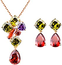 FLORAY Joyería de moda Sets- Cristal Colgante Collare & Pendientes