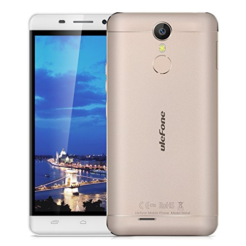 "Ulefone Metal - 4G Smartphone Libre Multitáctil Android 6.0 (Pantalla HD 5.0"", 1.3GHz MT6753 Octa Core, 3GB RAM 16GB ROM, 8.0MP Cámara, GPS, WIFI, Touch ID, Dual SIM) (Dorado)"
