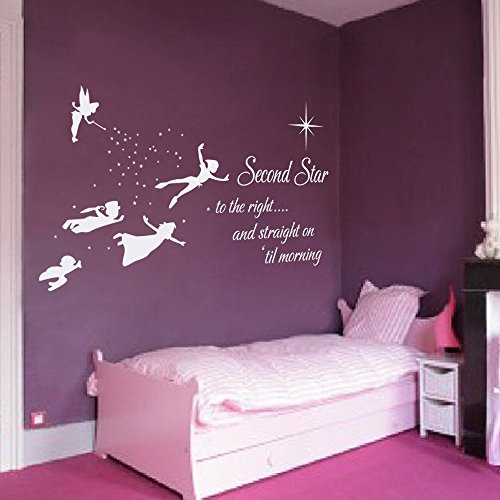 peter pan silhouette wand aufkleber zitat second star to the right und gerade auf bis morning. Black Bedroom Furniture Sets. Home Design Ideas