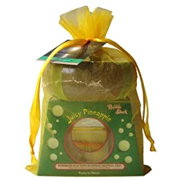 Product Image Bungalow Glow by Bubble Shack Hawaii Handmade Soap and Poi Bowl Soy Wax Candle Gift Set - Juicy Pineapple
