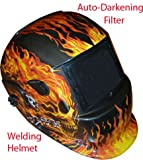 Red Flaming Skull Solar Auto-Darkening Welding Helmet