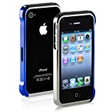 Aluminum Metal Bumper Case for the Apple iPhone 4 4S - Silver/Blue