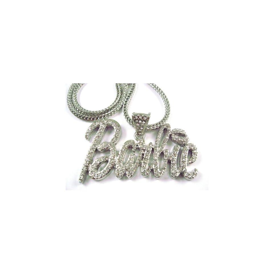 NEW NICKI MINAJ BARBIE Pendant w/Franco Chain Silver LG, Clear
